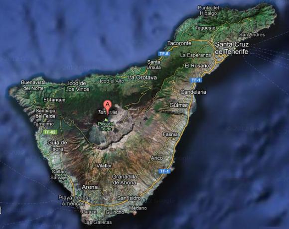 Satelittbilde av Tenerife