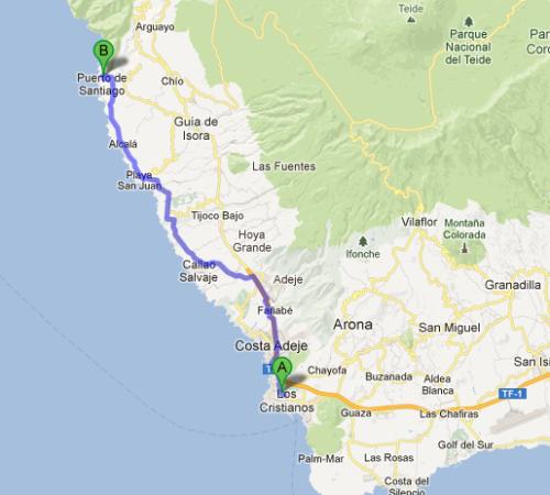Turen til Los Gigantes er rett i underkant av 70 km tur retur fra Las Americas. På veien får du med deg rundt 1500 høydemeter.