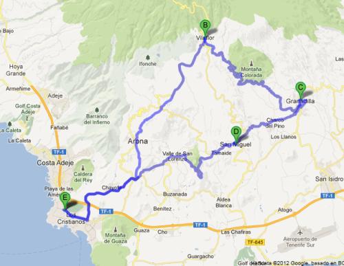 Turforslag to går opp i fjellet til Vilafor, rundt til Granadilla og hjem derfra. Rundturen gir deg litt over 2000 høydemeter, snur du i Vilaflor har du i underkant av 1500 høydemeter.
