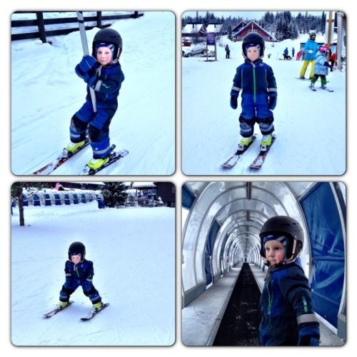 Her er Magnus i alpinbakken for første gang. Stolt som en hane over å kjøre heisen selv, kjøre på ski selv og ikke minst se ut som en alpinist. Tøff gutt, selv med feber.