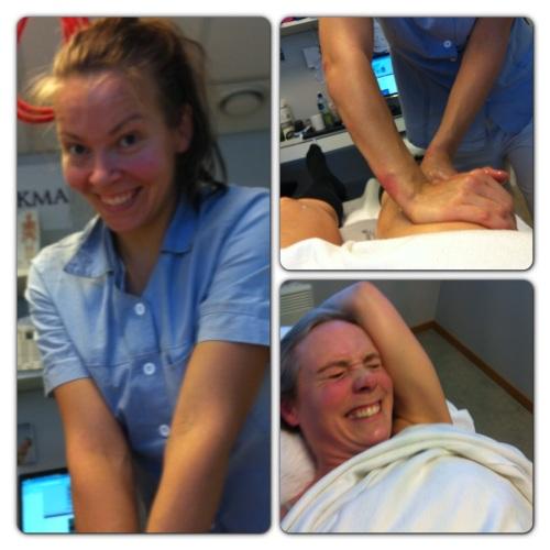 Sara Ertzaas holder til på Røa Kiropraktorklinikk. Her gir hun meg knallhard massasje, hvor både hun og jeg blir ganske slitne. Fryktelig vondt, men det gjør godt.