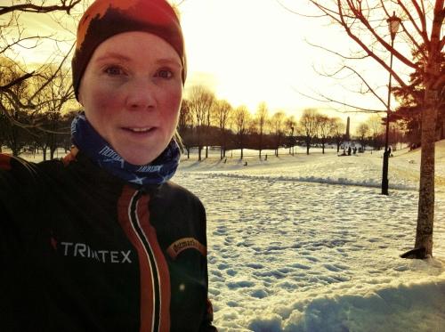 Kaldt ja, men å så deilig å løpe i solskinnet! Nå gleder jeg meg til vår :-)