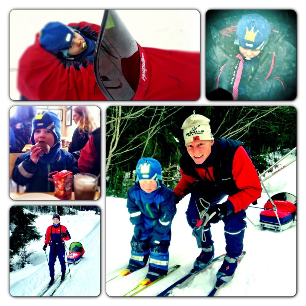 En god start på søndagen med skitur fra Skansebakken retning Løvlia. Vi kom oss ikke helt dit, det er veldig tungt å gå hele veien med pulk. Men Kristian kom seg opp alle bakkene før han satte kursen nedover igjen.