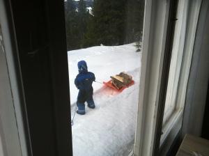 Magnus er en skikkelig arbeidskar. Her hjelper han til med å kjøre ved fra vedboden til hytta. Hal i og dra!
