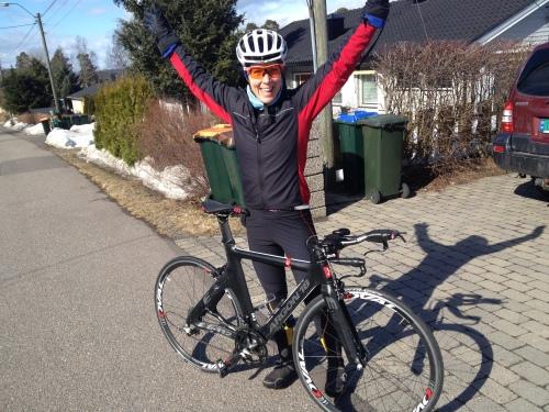Så deilig var det å komme av sykkelen etter noen timer i ny stilling på ny sykkel.