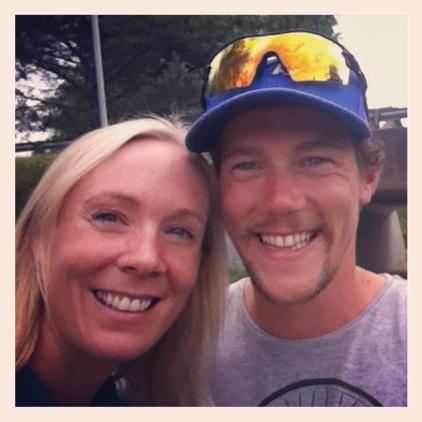 """Adrie har svensk kjæreste og ferierer i Sverige i sommer. Fred Arthur fikk """"lurt"""" han med på Østfold Triathlon, og det var veldig koselig å se ham igjen!"""