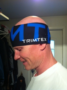 Kristian fikk også trent en del denne uka, her på vei ut døra med nytt pannebånd fra Trimtex.