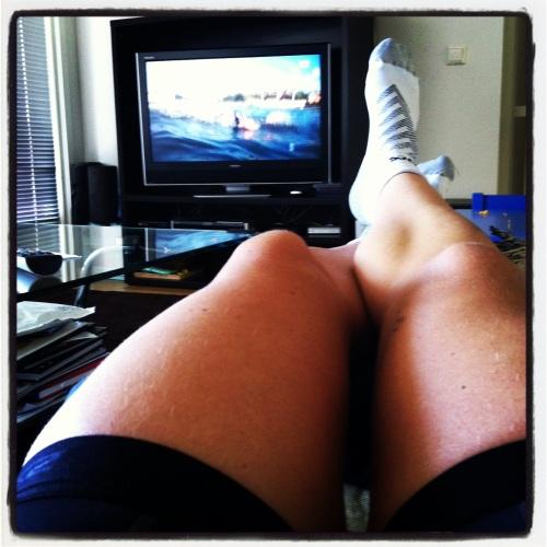 Beina høyt etter to bra økter. To timer på sofaen med World Cup fra Stockholm blir ikke feil da :-)