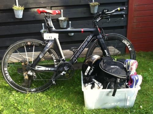 Sånn ser det ut når sykkelen og utstyret er klart.