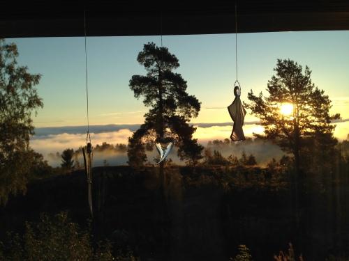 Denne utsikten møtte meg hjemme hos mamma i morges. Morgendis over Oslofjorden og flott soloppgang. Det måtte jo bli en bra dag!