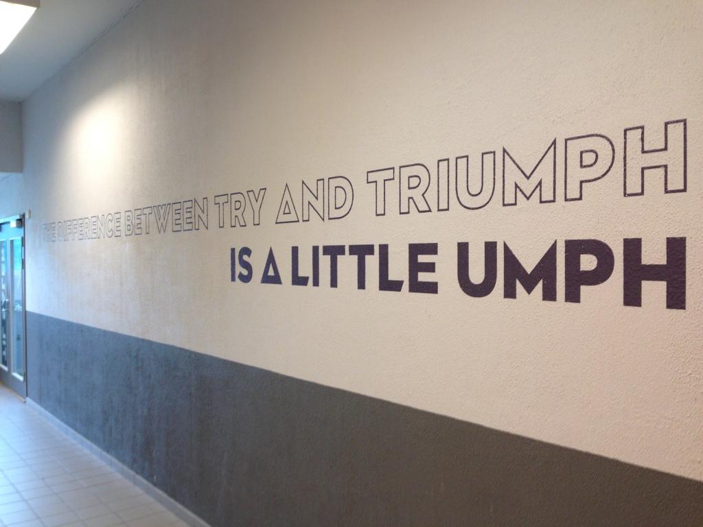 Møter denne veggen før hver morgentrening på Domus. Perfekt oppladning!