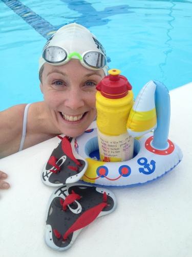 Fornøyd Kari etter svømmetrening Gran Canaria