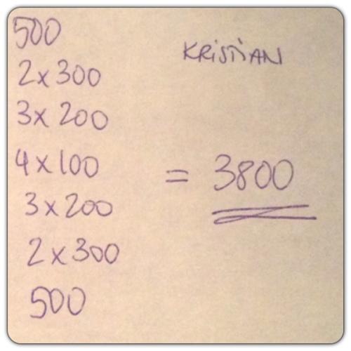 Kristians svømmeprogram 3800 meter