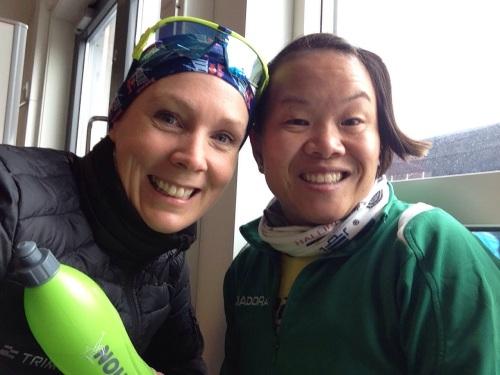 Kari og Eline før start  Holmestrand Maraton