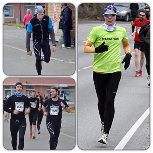 Kristian gjør seg til for fotografen og klarer tross dette å gjøre 1.25 på sin halvmaraton. Svoger Mads og hans kompis løp inn til solide tider på 1.38-tallet og jeg kom til slutt i mål på 1.37. Foto: Ingrid Flottorp og Eivind Bye.