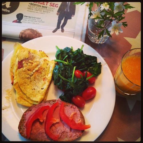 Lunsjen på jobb var veldig god, men jeg har klart overgangen og lager nå god mat til meg selv hjemme når jeg har anledning.