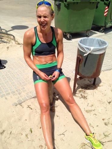 Svett Kari etter triathlonøkt
