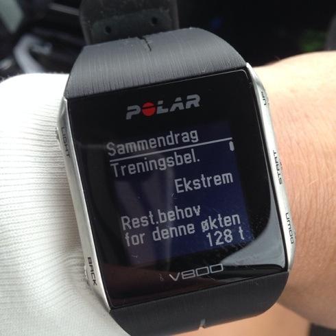 Ekstrem treningsbelastning og lang restitusjonstid. Hadde 180 i snittpuls på løp, men syklingen var mye lavere.