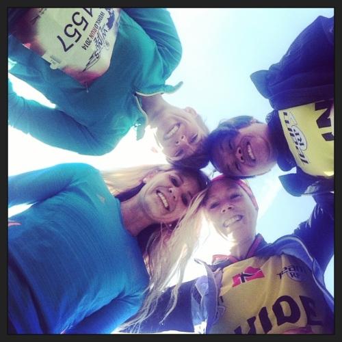 Her er det Trude, meg, Eline og Anna som gleder oss til start.