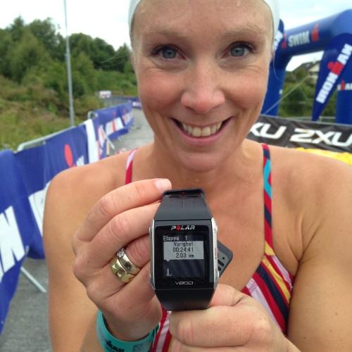 Fortsatt skeptisk? Jeg svømte løypa på Ironman 70.3 Haugesund på 24.41 og da var farten forholdsvis rolig. Prøv rette armer du også!