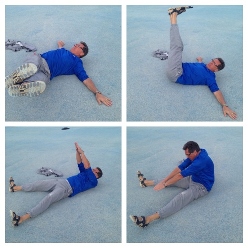 1+2: Rette bein som du sveiver rolig fra side til side. 90 sekunder. 3+4: Ligg på rygg med beina ut. Løft overkroppen som vist med hendene over hodet og strekk deg så langt frem som mulig. 90 sekunder.