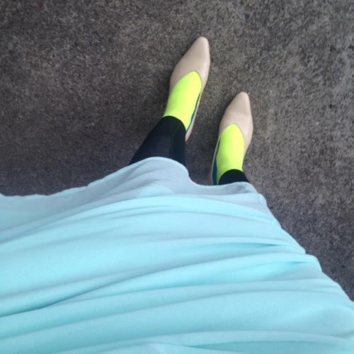 Kjolen var heldigvis så lang at det gikk an å ha kompresjon under!