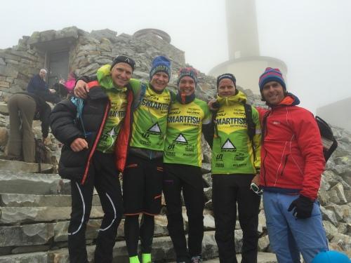 Hans Christian, Kristian, meg, Eirik og Olav før vi satte kursen ned fra fjellet igjen.